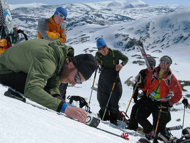 Measuring steepness is one of many factors in the avalanche course.